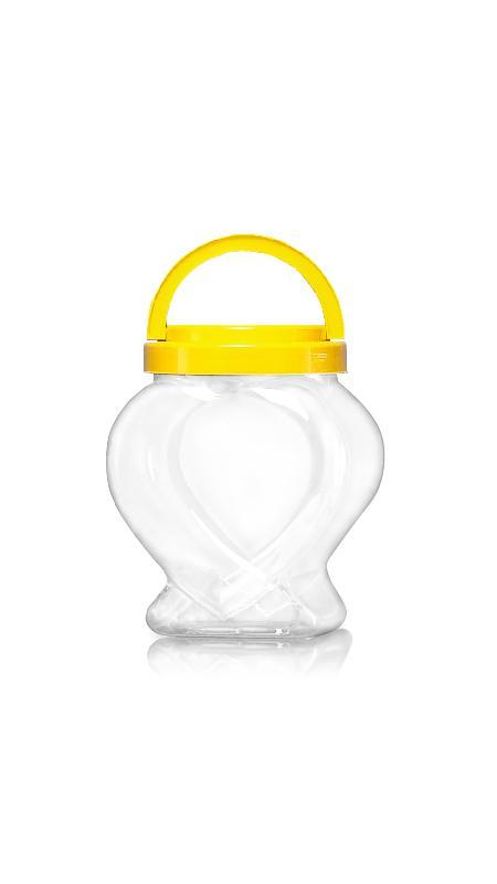 PET 120-mm-Serie Weithalsglas (J2008) - 2000 ml PET-Glas in Herzform mit Zertifizierung FSSC, HACCP, ISO22000, IMS, BV