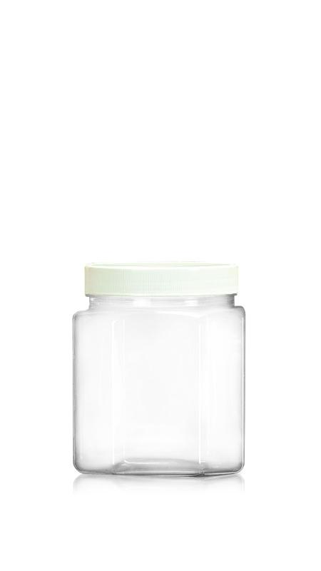 Borcan larg din seria PET 89mm (D858) - Borcan octogonal PET de 900 ml cu certificare FSSC, HACCP, ISO22000, IMS, BV