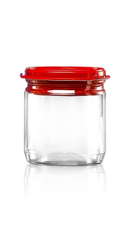 PET aluminiu / plastic cutie ușoară deschisă (307-450P) - Borcan PET 400 ml EOE cu capac din plastic și certificare FSSC, HACCP, ISO22000, IMS, BV