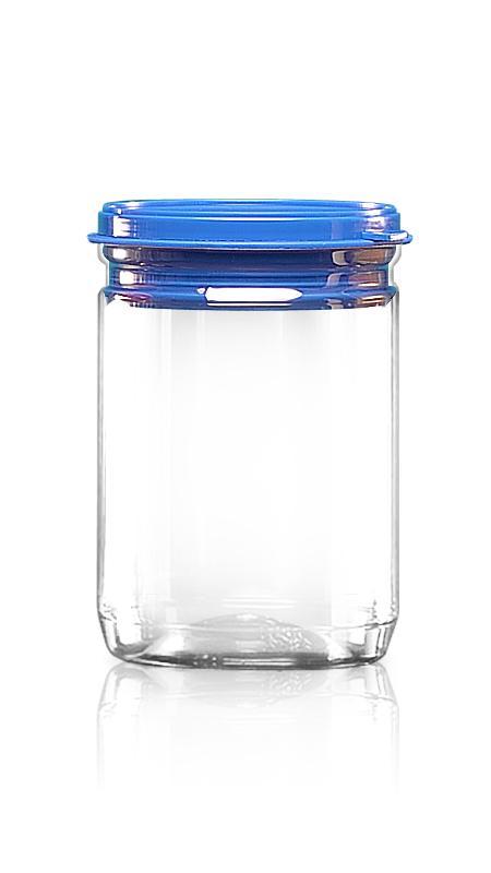 PET aluminiu / plastic cutie ușoară deschisă (307-600P) - Borcan EOE PET de 500 ml cu capac din plastic și certificare FSSC, HACCP, ISO22000, IMS, BV