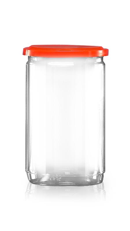 PET aluminiu / plastic cutie ușoară deschisă (307-800) - Borcan EOE PET de 630 ml cu capac din aluminiu și certificare FSSC, HACCP, ISO22000, IMS, BV