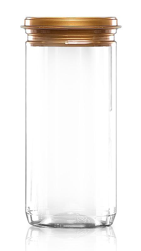 PET aluminiu / plastic cutie ușoară deschisă (307-900P) - Borcan PET 900 ml EOE cu capac din plastic și certificare FSSC, HACCP, ISO22000, IMS, BV
