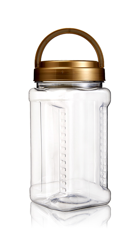 PET 89mm Series Wide Mouth Jar (D1004) - 1000 ml PET Square Grip Jar with Certification FSSC, HACCP, ISO22000, IMS, BV