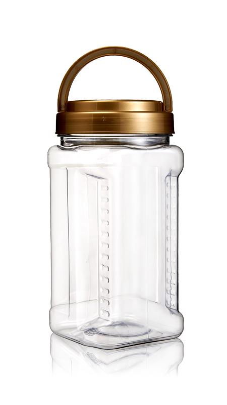 PET 89-mm-Serie Weithalsglas (D1004) - 1000 ml PET Square Grip Jar mit Zertifizierung FSSC, HACCP, ISO22000, IMS, BV