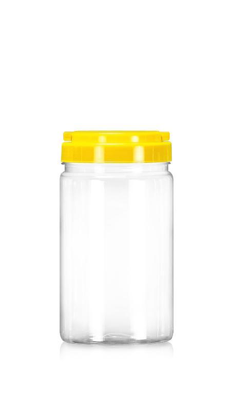 PET 89-mm-Serie Weithalsglas (D1009) - 1000 ml PET Rundglas mit Zertifizierung FSSC, HACCP, ISO22000, IMS, BV