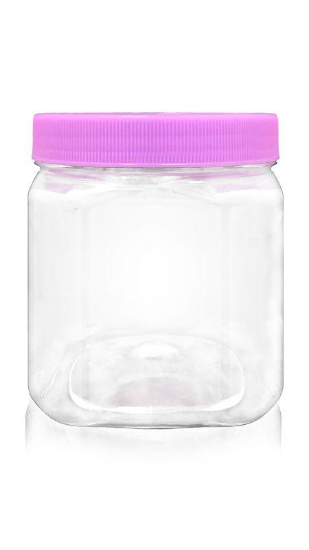 PET Buză largă din seria 89mm (D534) - Borcan pătrat PET de 530 ml cu certificare FSSC, HACCP, ISO22000, IMS, BV