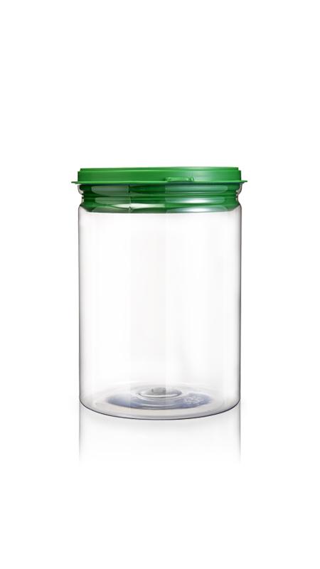 PET aluminiu / plastic cutie ușoară deschisă (W401-880P) - Borcan EOE PET de 870 ml cu capac din plastic și certificare FSSC, HACCP, ISO22000, IMS, BV