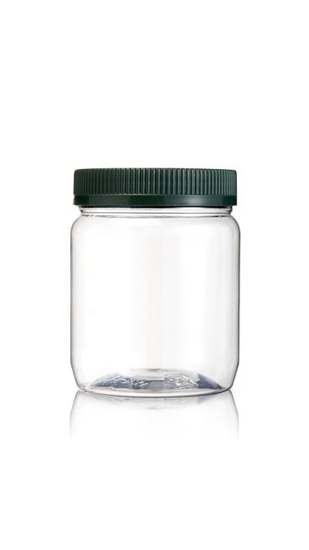 PET 70mm Serie Weithalsglas (WK400) - 450 ml PET Rundglas mit Zertifizierung FSSC, HACCP, ISO22000, IMS, BV