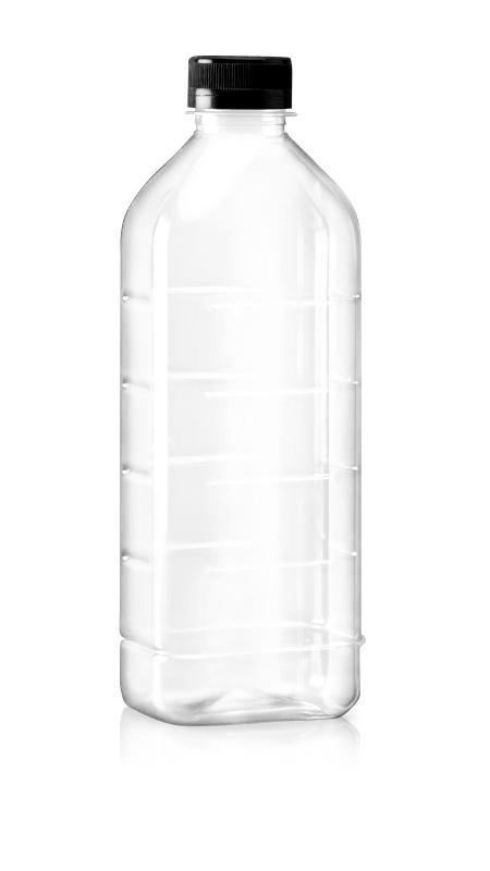 Sticle PET 38mm (85-1004) - Flacon PET în stil dreptunghiular de 1000 ml pentru ambalarea băuturilor reci cu certificare FSSC, HACCP, ISO22000, IMS, BV