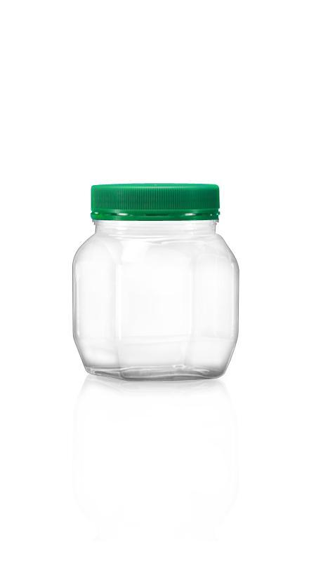 PET Buză largă din seria 63mm (A287) - Borcan pătrat PET de 300 ml cu certificare FSSC, HACCP, ISO22000, IMS, BV