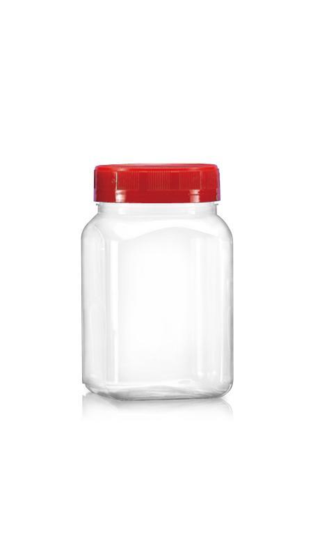 PET Buză largă din seria 63mm (B404) - Borcan pătrat PET de 400 ml cu certificare FSSC, HACCP, ISO22000, IMS, BV