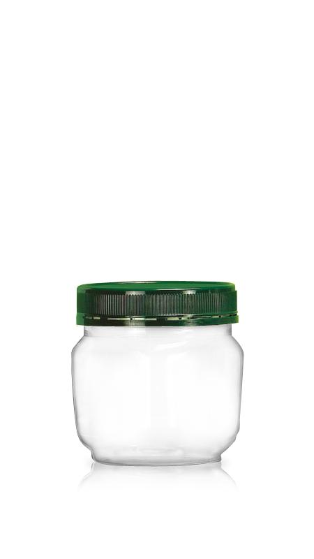 PET 89-mm-Serie Weithalsglas (D464) - 500 ml PET Square Jar mit Zertifizierung FSSC, HACCP, ISO22000, IMS, BV