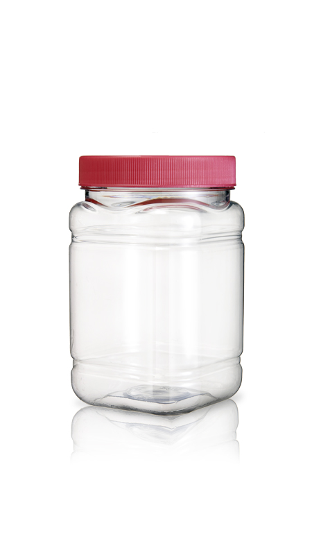 PET 89-mm-Serie Weithalsglas (D854) - 900 ml PET Square Jar mit Zertifizierung FSSC, HACCP, ISO22000, IMS, BV