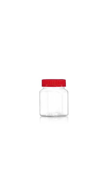 PET 53 mm Weithalsdose (F174) - 180 ml PET Square Jar mit Zertifizierung FSSC, HACCP, ISO22000, IMS, BV