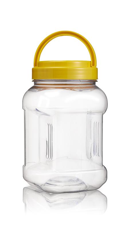 PET 89-mm-Serie Weithalsglas (D1104) - 1100 ml PET Square Grip Jar mit Zertifizierung FSSC, HACCP, ISO22000, IMS, BV