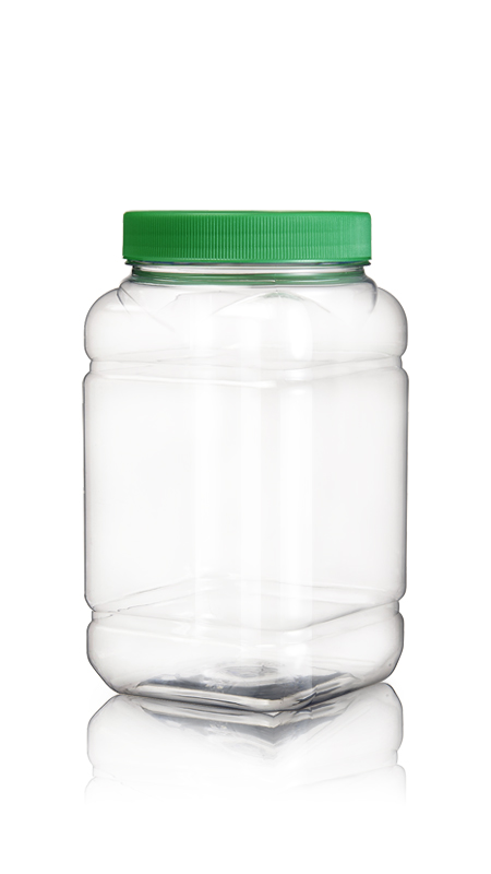 PET 89mm Series Wide Mouth Jar (D1404) - Pet-Plastic-Bottles-Square-Grip-D1404