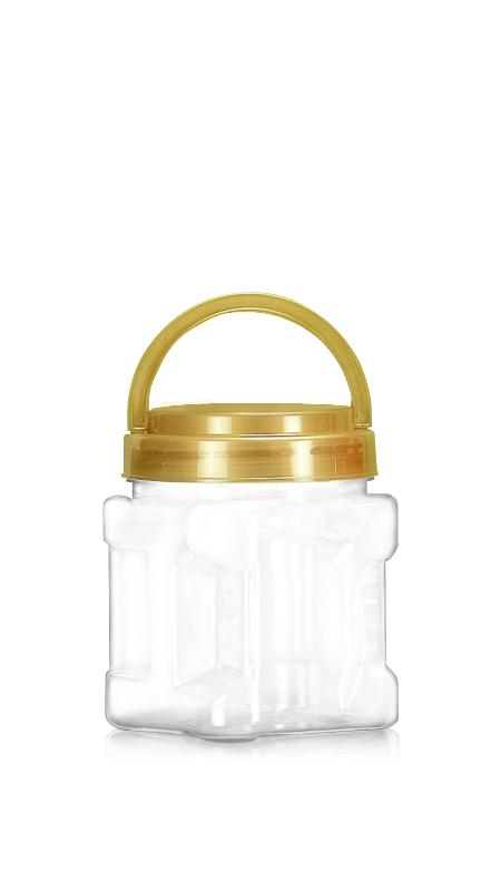 PET 89mm Series Wide Mouth Jar (D574) - 570 ml PET Square Grip Jar with Certification FSSC, HACCP, ISO22000, IMS, BV
