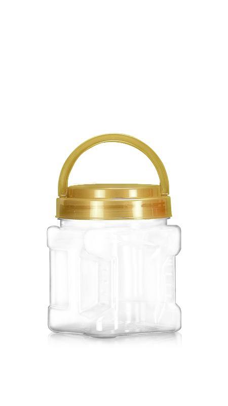 PET 89-mm-Serie Weithalsglas (D574) - 570 ml PET Square Grip Jar mit Zertifizierung FSSC, HACCP, ISO22000, IMS, BV