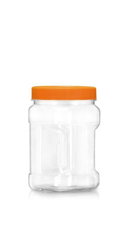 PET 89-mm-Serie Weithalsglas (D694) - 700 ml PET Square Grip Jar mit Zertifizierung FSSC, HACCP, ISO22000, IMS, BV