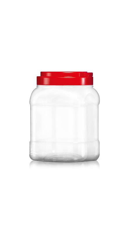 PET 120mm Series Wide Mouth Jar (J1204) - 2400 ml PET Square Jar with Certification FSSC, HACCP, ISO22000, IMS, BV