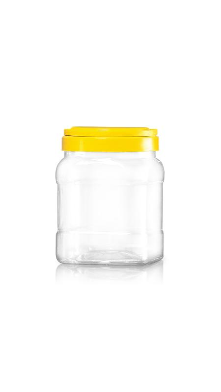 PET 120mm Series Wide Mouth Jar (J1704) - 1800 ml PET Square Jar with Certification FSSC, HACCP, ISO22000, IMS, BV