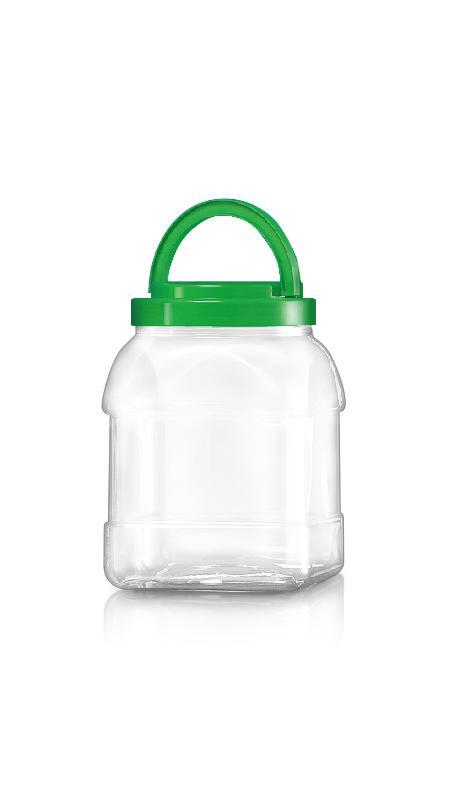 PET 120-mm-Serie Weithalsglas (J2804) - 2900 ml PET Square Sharp Jar mit Zertifizierung FSSC, HACCP, ISO22000, IMS, BV