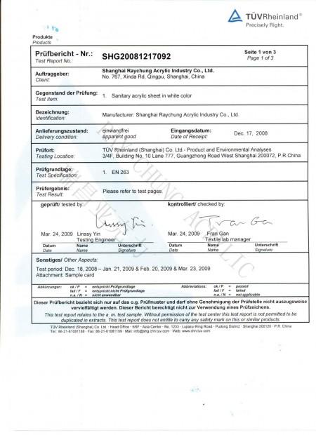 EN263 Saniware Sheet Test Report Page 1