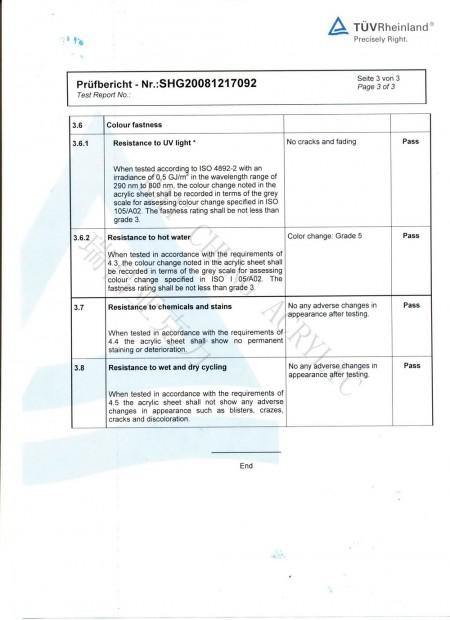 EN263 Saniware Sheet Test Report Page 3