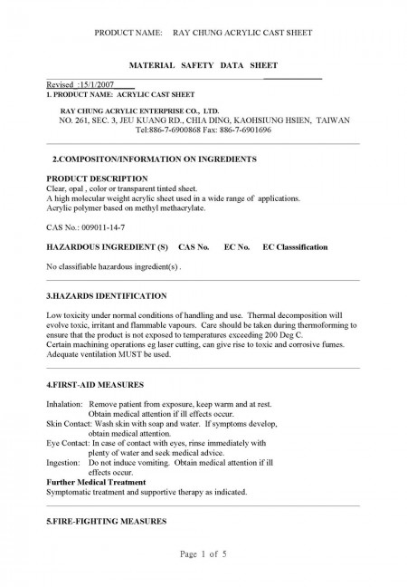 Material Safety Data Sheet (CAS No.: 009011-14-8) Page 1