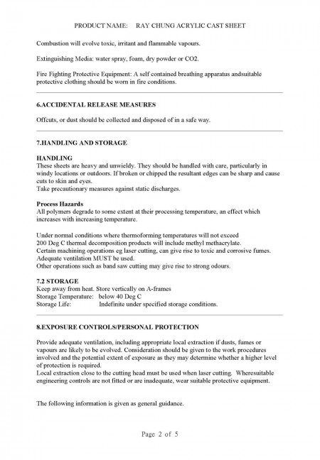 Material Safety Data Sheet (CAS No.: 009011-14-8) Page 2