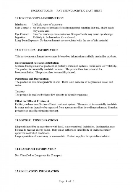 Material Safety Data Sheet (CAS No.: 009011-14-8) Page 4