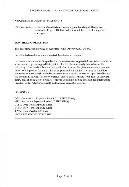 Material Safety Data Sheet (CAS No.: 009011-14-8) Page 5
