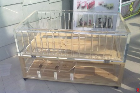 The baby cot made of clear acrylic sheet.