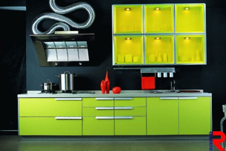 Kitchen cabinet made of fluorescent green acrylic sheet - The fluorescent green acrylic for kitchen cabinet design brings the vitality for the kitchen.