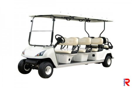 The golf cart with acrylic windshield.