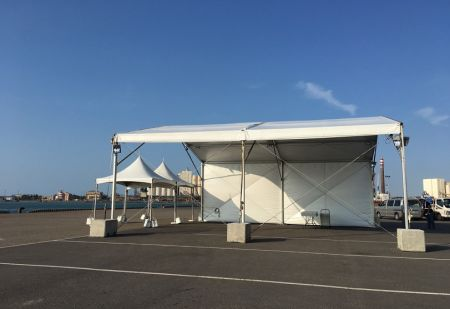 Cruise ship clearance tent
