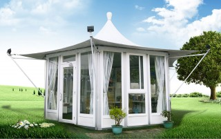 Gazebo Dinding Kaca Hexagon