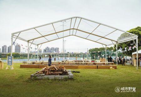 Tienda-Camping transparente 15MX10M
