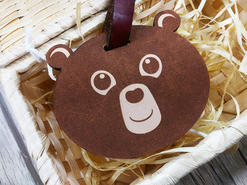 Bear leather carving tag
