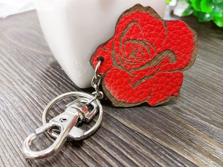 Cowhide Rose Carving Keychain
