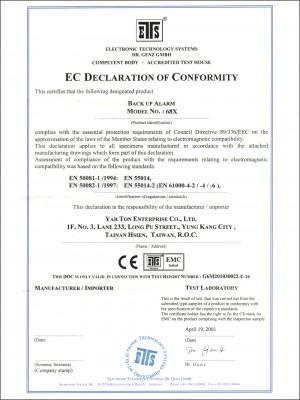Todistus - . 68X BACK UP ALARM CE -sertifikaatti