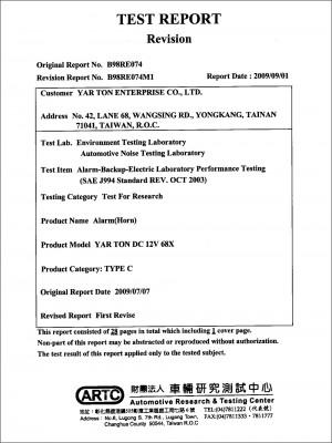 Certificaat - . 68X SAE J994 Standaard REV.  September  2014