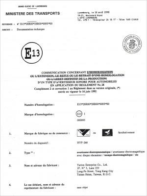 Certificaat - . E-teken (260)