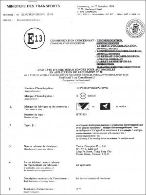 Certificaat - . E-teken (305)