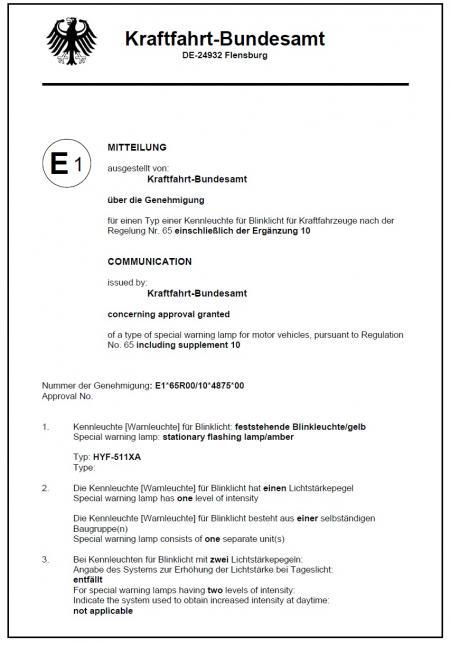 Certificado - . Marca E (511X 65R)