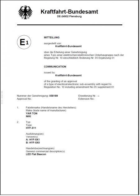 Certificado - . Marca E (511X.510X 10R)