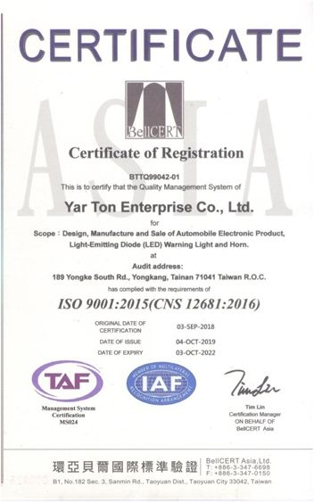 Yarton's Awards - . ISO 9001:2015 Certificate of Registration