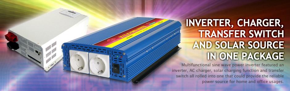 Инвертор, зарядное устройство, передаточный переключатель и солнечный источник в одной упаковке.