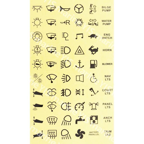 C7-ST-1-Label Stickers for C-7 Switches - Stickers with 60 assorted labels