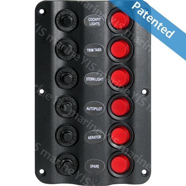 Panneau de commutateurs SP1216P-6P Wave Design - Panneau de commutateurs SP1216P-6P Wave Design